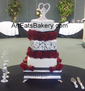 Black And White Wedding Cake 44 Luxury Three tier off set