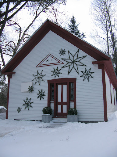 After shooting the tree, we headed down to the greenery star set up.  The building is an old one-room schoolhouse.