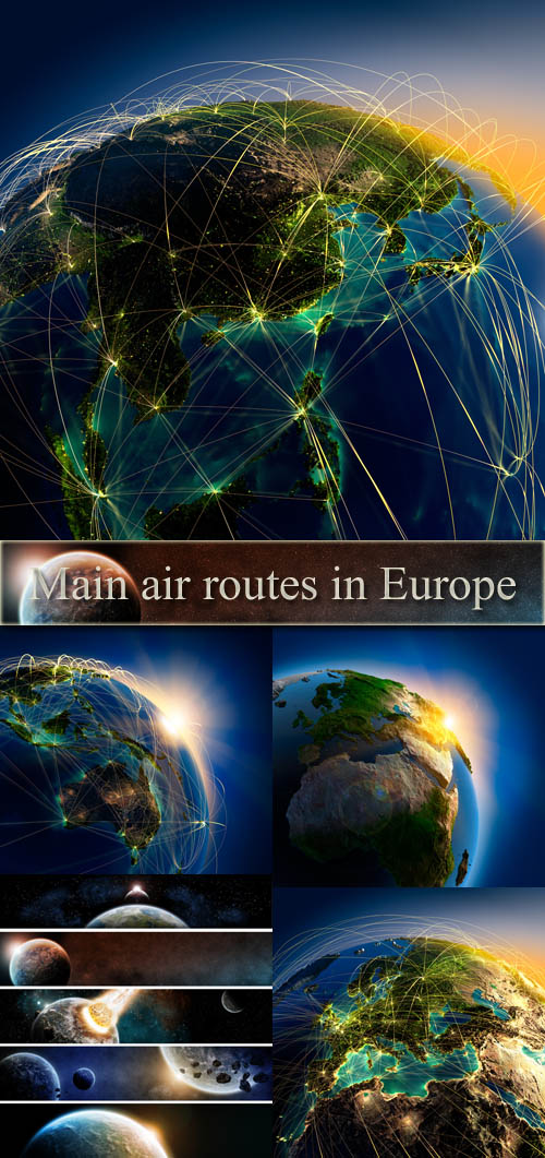 Stock Photo: Main air routes in Europe