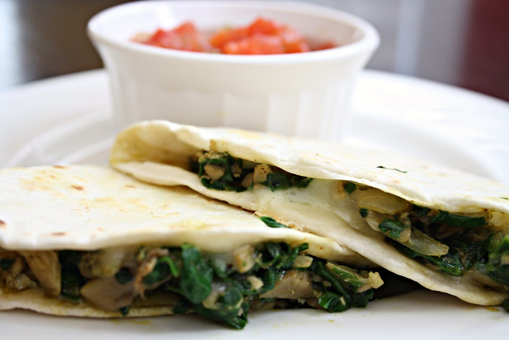 Chicken Mushroom {and Spinach} Quesadillas
