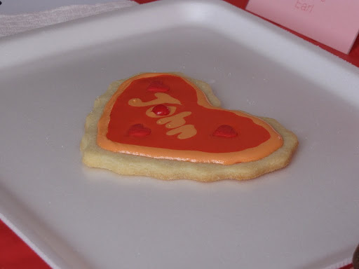 My mom designed a cookie for her sweetheart (she hates pink more than I do).