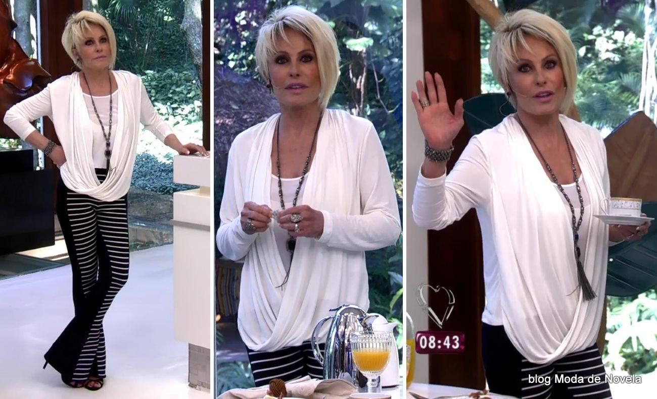 moda do programa Mais Você - look P&B da Ana Maria Braga dia 21 de agosto