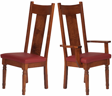 Farmhouse Chair in Royal Maple with Leather Seat