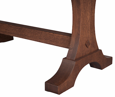 Eiffel Dining Table in Lexington Quarter Sawn Oak, Base Detail
