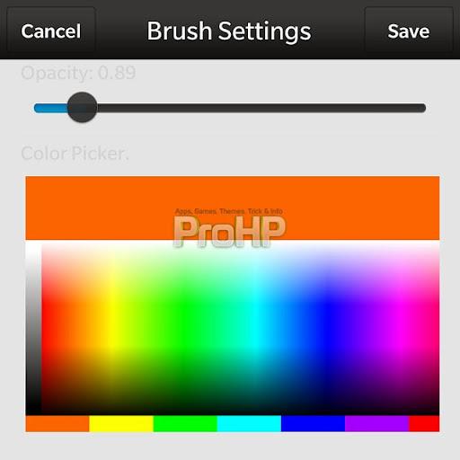 Painter v1.3.0.2 for BlackBerry 10 Brush Settings