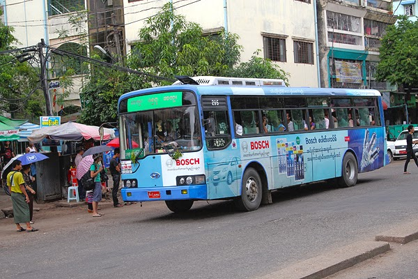 yangon bus, taking the local bus in myanmar