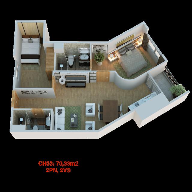 Thiết kế căn hộ 03 tháp doanh nhân