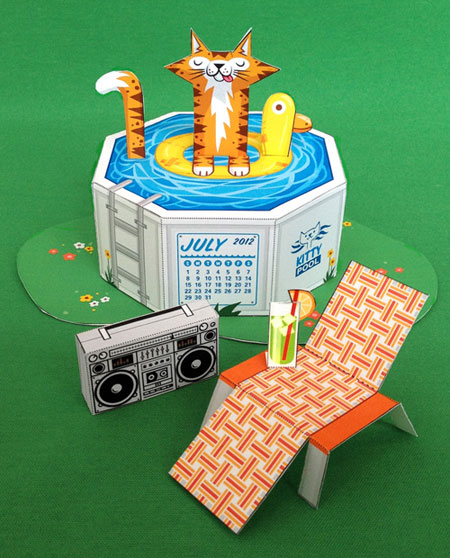 Pool Cat Papercraft Calendar July