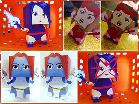 XMen Papercraft Psylocke Scarlet Witch Mystique