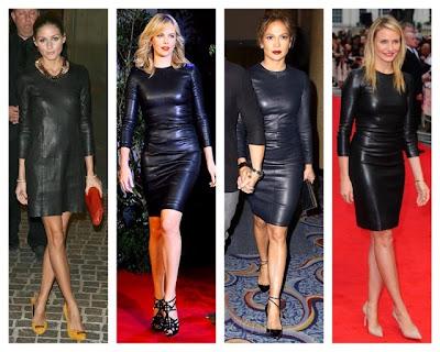 Olivia Palermo, Charlize Theron, Jennifer Lopez, Cameron Diaz in The Row Black Leather Long Sleeve Dress
