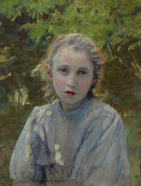 Charles Sprague Pearce - Portrait of a Young Girl