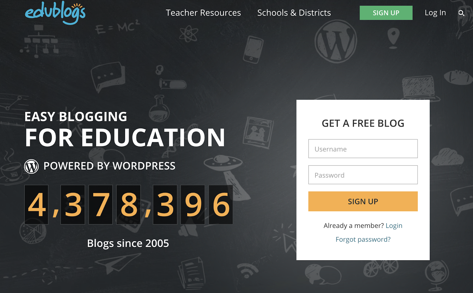 Edublogs homepage saying they have over 4.3 million blogs powered by WordPress.
