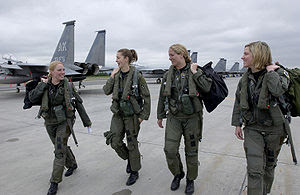 Four F-15 Eagle pilots from the 3d Wing walk to their respective jets at Joint Base Elmendorf-Richardson.