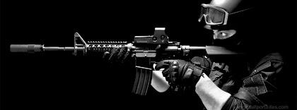 Portada para facebook de Soldado Swat con carabina m4