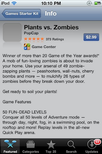 plants vs. zombies ipod touch