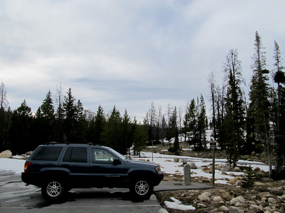 I parked here near Trial Lake and started hiking up the snow-covered road
