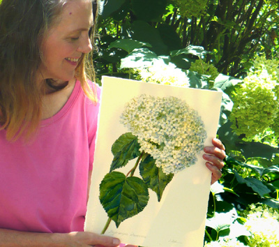 Artist Janet Zeh with botanical watercolor painting