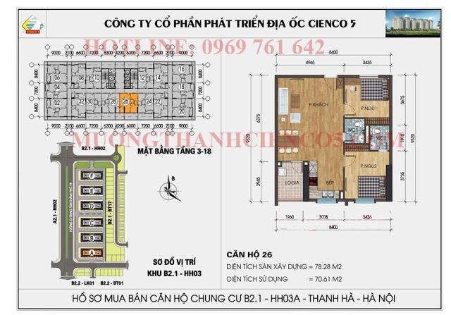 Sơ đồ chi tiết căn hộ chung cư b2.1 HH03A căn 26