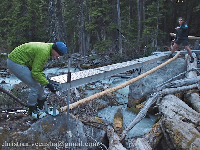 Installing the repaired bridge