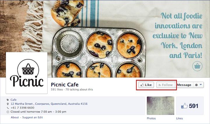 Facebook Page測試的Follow鍵是從屬於Like鍵的
