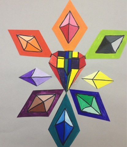 Students Made A Unique Color Wheel Design Using Shape Or Symbol Of Choice All Colors Were Mixed By Student From Primary Palette