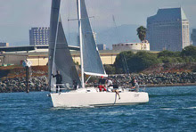 J/120 sailboat- sailing start of Hot Rum San Diego YC series