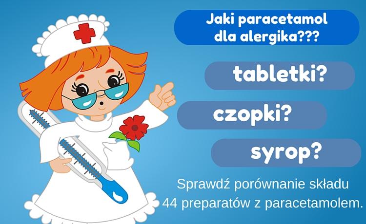 Paracetamol dla alergika - jaki preparat wybrać? Porównanie składu 44 preparatów z paracetamolem.