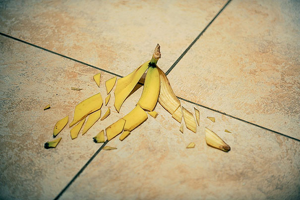 уникални форми от храна - счупена обелка от банан