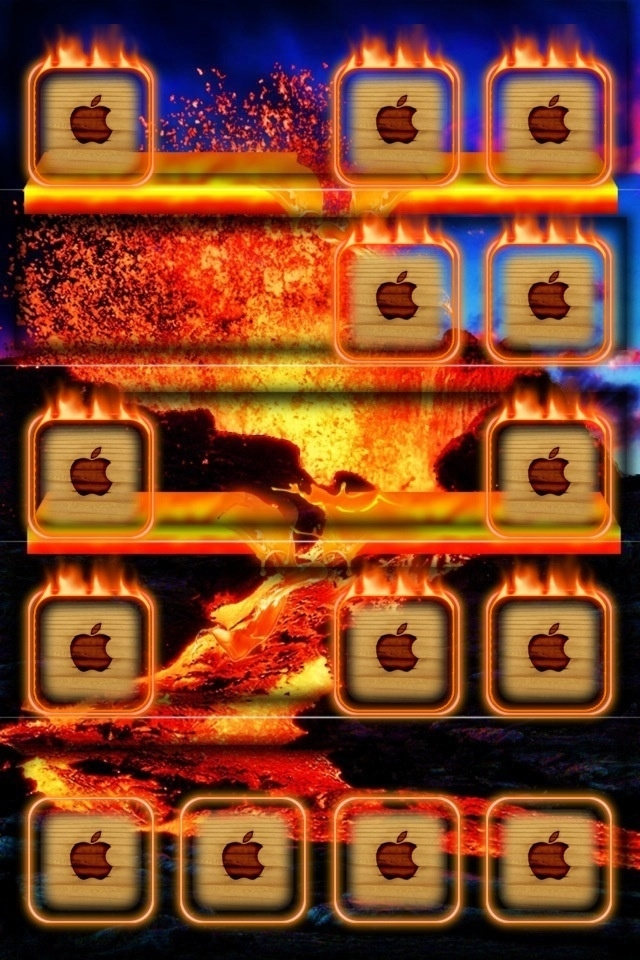 Fire Apple Pictures Wallpapers For iPhone4