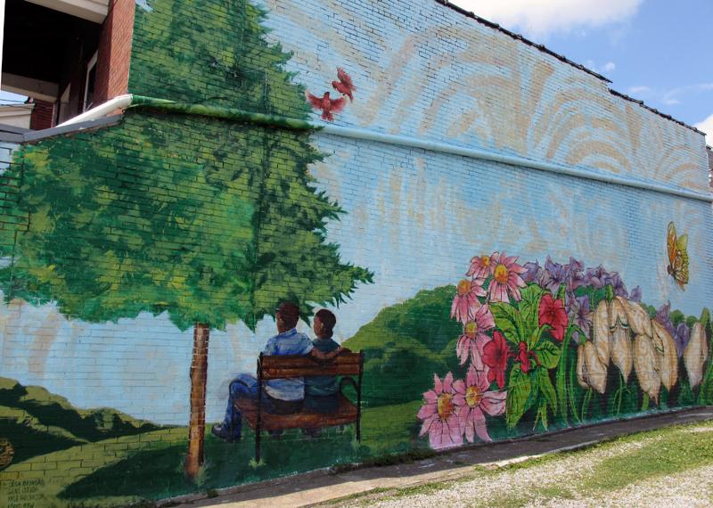 Mural by kyle holbrook olga brindar gene ojeda eddie for Butterfly garden mural