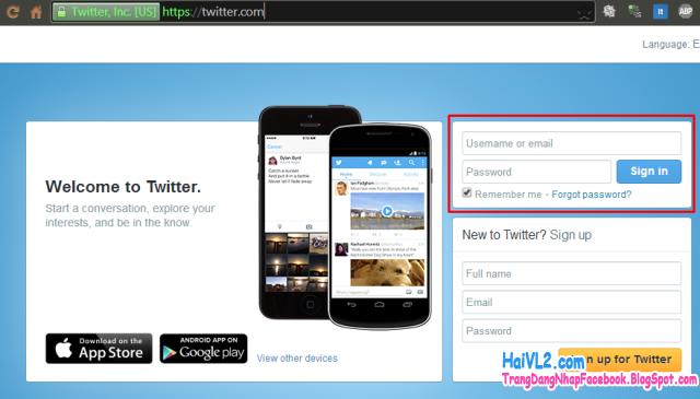 trang đăng nhập twitter