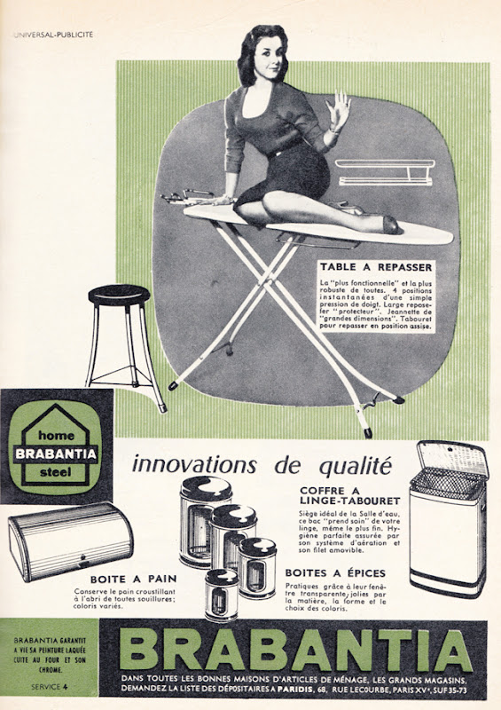 Publicité vintage : BRABANTIA, innovations de qualité. - Pour vous Madame, pour vous Monsieur, des publicités, illustrations et rédactionnels choisis avec amour dans des publications des années 50, 60 et 70. Popcards Factory vous offre des divertissements de qualité. Vous pouvez également nous retrouver sur www.popcards.fr et www.filmfix.fr   - For you Madame, for you Sir, advertising, illustrations and editorials lovingly selected in publications from the fourties, the sixties and the seventies. Popcards Factory offers quality entertainment. You may also find us on www.popcards.fr and www.filmfix.fr