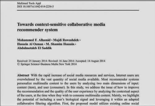 Paper Towards Context Sensitive Collaborative Media Recommender System
