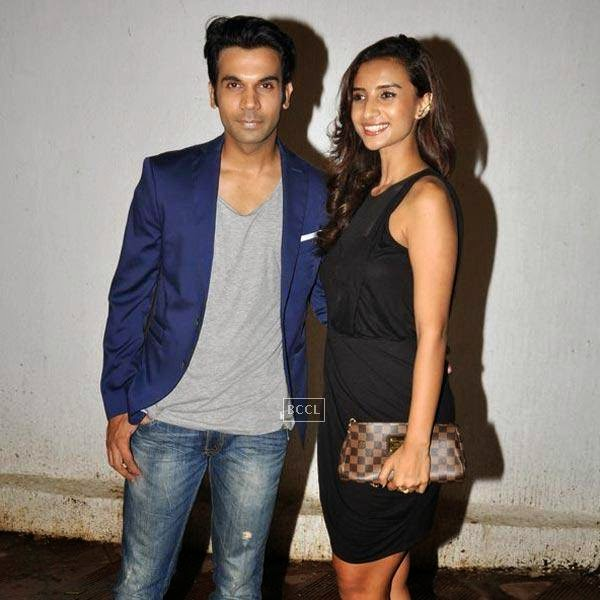 Rajkummar Rao and Patralekha attend the wrap-party of Bollywood movie Mary Kom, held at Sanjay Leela Bhansali's residence on July 26, 2014.(Pic: Viral Bhayani)