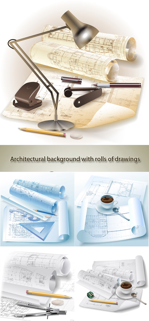 Stock: Architectural background with rolls of drawings