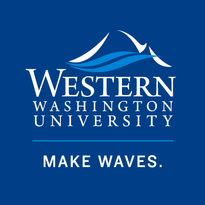 Logo for Western Washington University. Stylized blue and white lines meant to indicate the ocean and mountains. The words Western Washington University' are underneath.