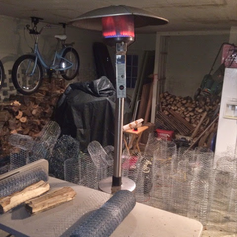 I turned on the shop light and patio heater before going out to a meeting, returned to find the garage full of chickenwire sections all cut and neatly ...