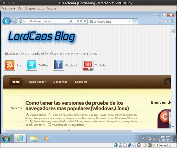 Windows 7 con Internet Explorer 9 en VirtualBox