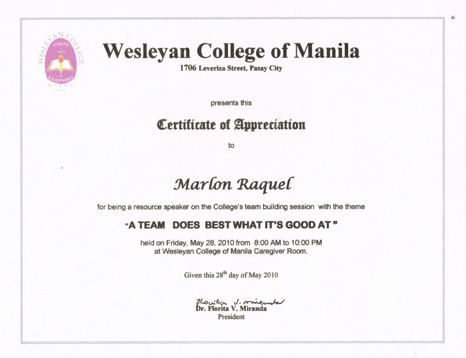 The fisher valley college certificate of appreciation 2 from certificate of appreciation 2 from wesyelan college of manila 1betcityfo Choice Image