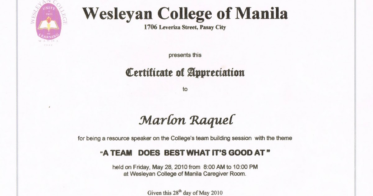 The fisher valley college certificate of appreciation 2 from the fisher valley college certificate of appreciation 2 from wesyelan college of manila yadclub Choice Image