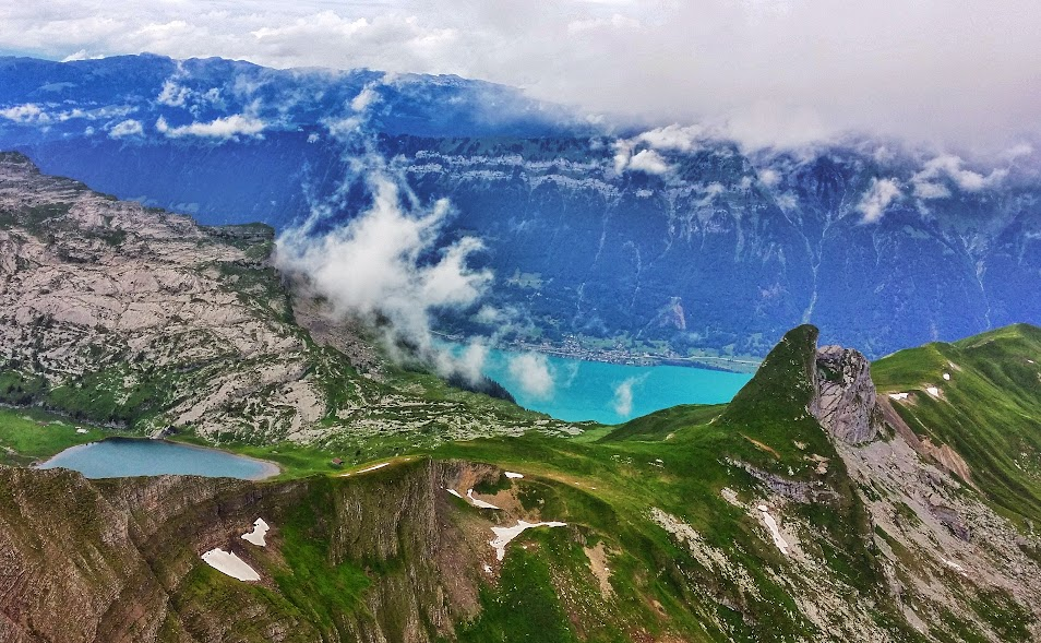 View of Lake Brienz from the Faulhorn Summit in the Bernese Alps.