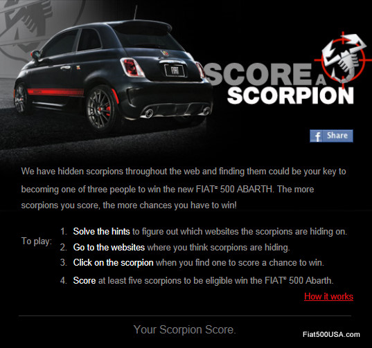 Fiat 500 Abarth Score a Scorpion Contest