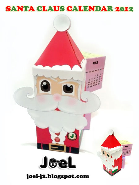 Santa Claus 2012 Calendar Paper Toy