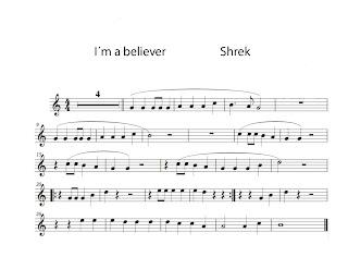 Y la partitura fácil de I´m a Believer para tocar con la flauta, violin, clarinete, oboe, saxofón alto, tenor, soprano, trompeta o cualquier instrumento melódico. Partitura cortesía de Mº Jesús Música y el blog Musicameruelo pinchad aquí para visitarlo