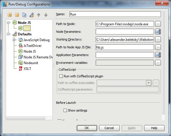 JetBrains WebStorm - nodejs