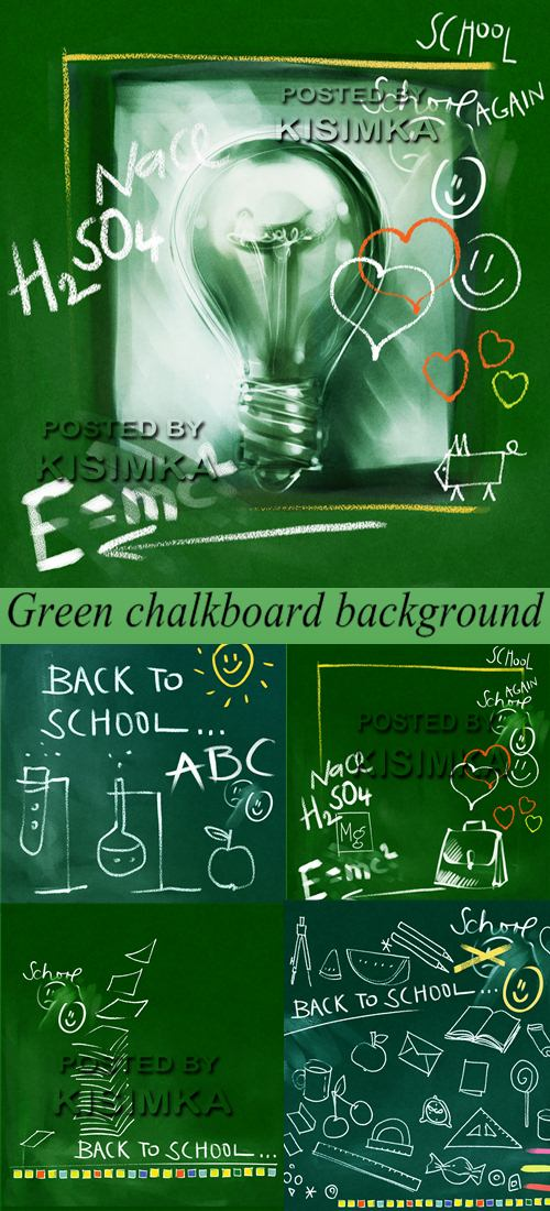 Stock Photo: Green chalkboard background - back to school doodles