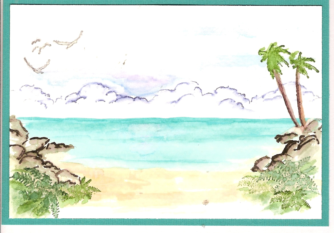 Water Color Beach Scene