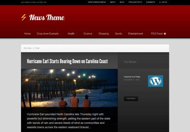 Live News Blog Red Wordpress Theme Template