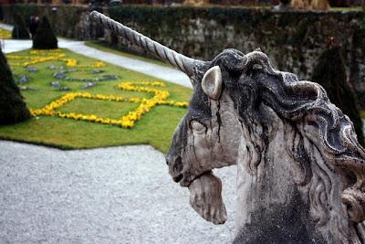 Unicorn statue in the Mirabell Gardens in Salzburg