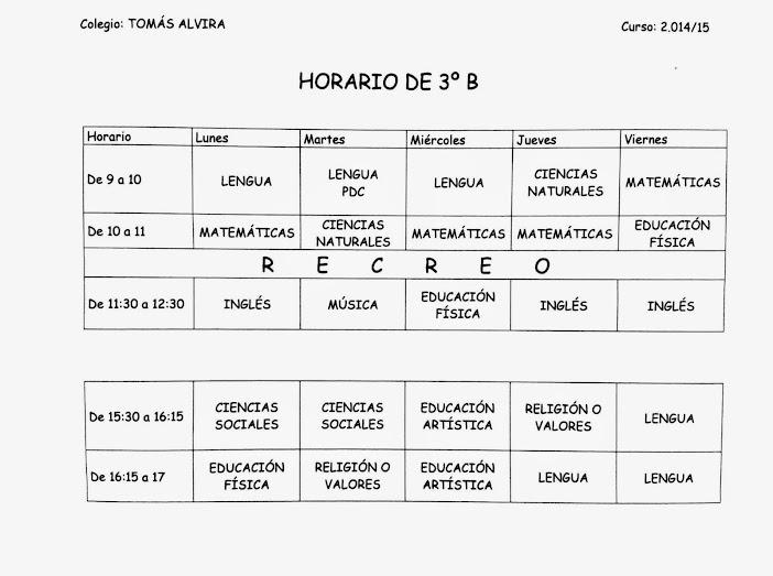 Horario 3ºB